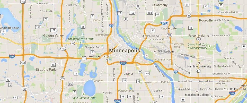 Minneapolis Dumpster Rental Service Area Map